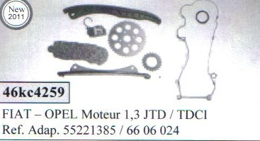 kit chaine de distribution montage fiat opel moteur 1 3 jtd tdci. Black Bedroom Furniture Sets. Home Design Ideas